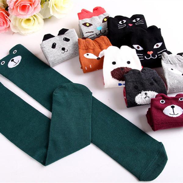 Hot New 10 Styles Children Baby Girls Cute Character Knee Socks Fox Cotton Dancing Socks Leg Warmer For Toddler