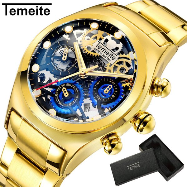 Relogio Masculino TEMEITE Top Marque Hommes Montres De Luxe De Mode Or D'affaires Full Steel Quartz Montres Horloge Mâle