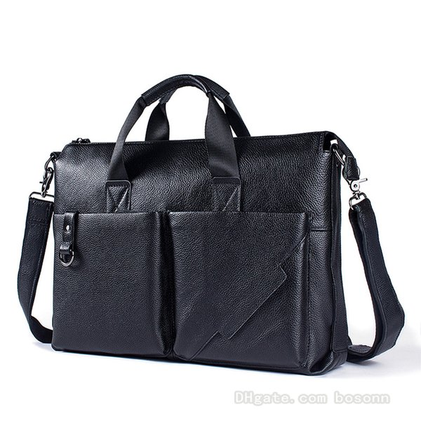 NEW Mens Business Briefcase Vintage Genuine Leather Luxury Laptop Bag Brand Messenger Bag Designer Satchel (Black)