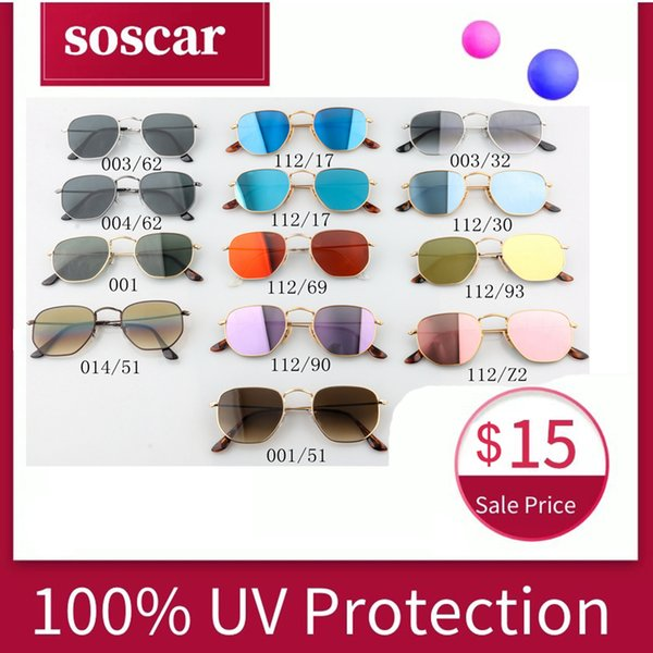 Soscar 3548N Hexagonal Flat Lenses Sunglasses for Men Women Top Quality Brand Designer Sunglasses Metal Frame Flash Mirror Glass Lens 51mm