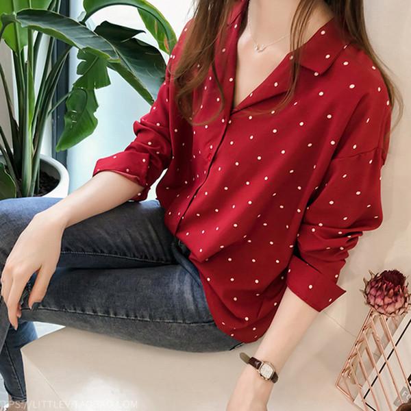 69c4b1d859f6 Tallas grandes 4XL Camiseta floja ocasional Mujeres Camiseta de oficina Manga  larga de lunares Negro Rojo Camisas de las señoras Blusas Feminina Tops  Blusa