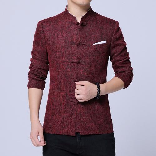 Chinesische Tunika Anzug 2019 Frühjahr neue chinesische Stil Mode Tang Jacke Männer Baumwolle Flachs bequeme Stoff Herren Jacken und Mäntel