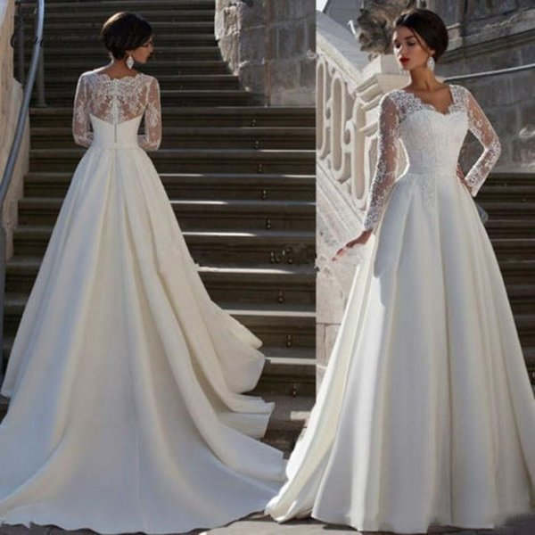 2018 Modest Long Sleeve Wedding Dresses A Line Lace Applique V Neck Plus Size Satin Vintage Bridal Gowns With Buttons Back Chapel Train