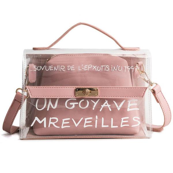 Fashion Pvc 2 Pcs Composite Bags For Women Letter Pattern Transparent Tote Bag Large Capacity Designer Handbags Shoulder Bags