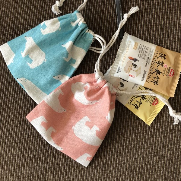 Lovely Bear Cotton Jewelry Gift Bag 9x12cm 11x14cm 13x17cm pack of 100 Party Candy Favor Sack