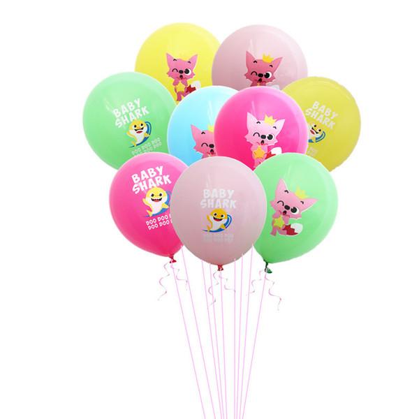 Kinder Baby Shark Cartoon Luftballons Mädchen Jungen Geburtstag Latex Ballon Party Supplies Karneval Hochzeit Hauptdekorationen Spielzeug Geschenke 12 zoll A52008
