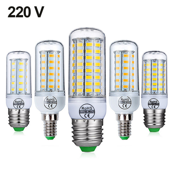 Lampadina E27 LED E14 Lampadina LED SMD5730 Corn Bulb 24 36 48 56 69 72 LED Lampadario Candela LED per la decorazione domestica Fiala