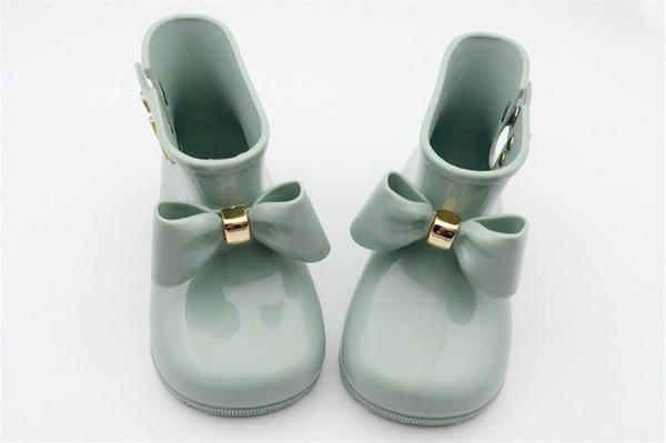 Çocuklar çizmelere Ayakkabı Kız Mini Melissa Ayakkabı Bebek Yaylar Jelly Yağmur Botları Yeni Kaymaz Prenses Kısa Çizme Çocuk Jelly Su Boots A6504