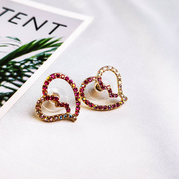 personality sweet heart in half stud earrings crystal sea snail for mothers' day fashion jewelry drop shipping