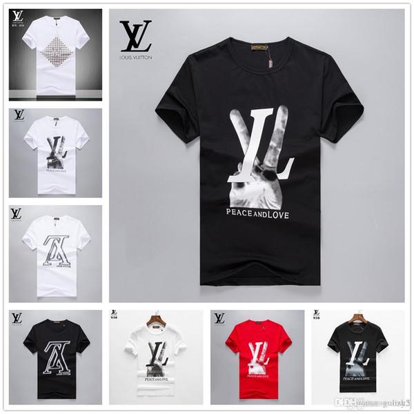 2019 Großhandel T-Kleidung Herren T-Shirts 3D Malerei Hip Hop Kleidung Herren Designer Hemden plus Größe schwarz weiß