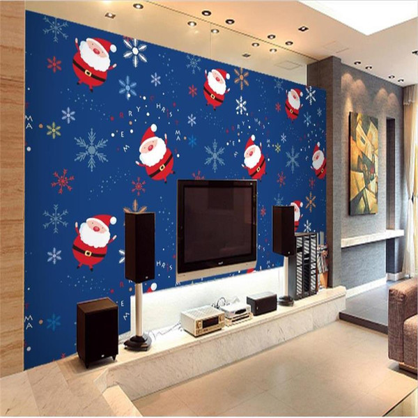 Dimensioni personalizzate Foto 3D Wallpaper Soggiorno Murale Immagine creativa di Natale 3D Divano TV Sfondo Home Decor Creative Hotel Wallpaper