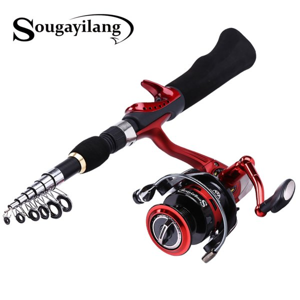 Sougayilang Canne à Pêche Tournante avec Bobine BD2000 Set Olta 1.65m Rouge Portable Voyage Canne à Pêche En Carbone Combo Pole