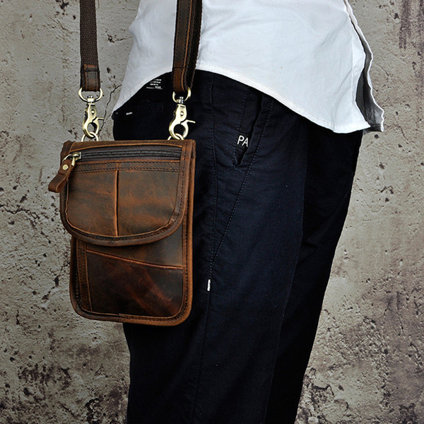 Designer Thin simple Vintage Small Shoulder Messenger 7 inch Crazy horse leather Men Belt Waist Bags/wallet For Iphone