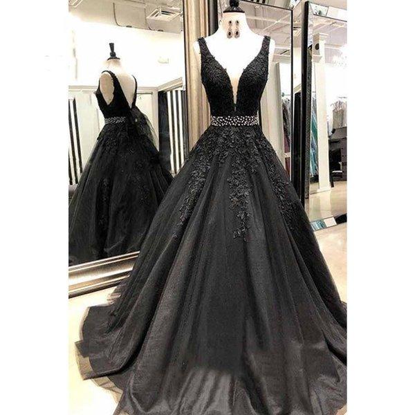 Robes de soirée élégantes 2019 Sexy encolure en V Dentelle Appliques Tulle Noir Robes de soirée officielles Robes de bal Ceinture perlé