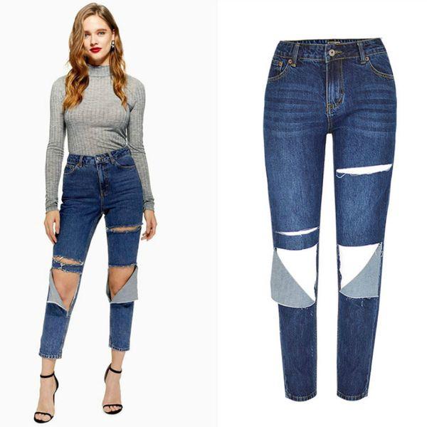 Jeans taille haute droit Printemps Eté au genou trou déchiré Jeans pour les femmes High Street pantalon en denim effet lâche moustache