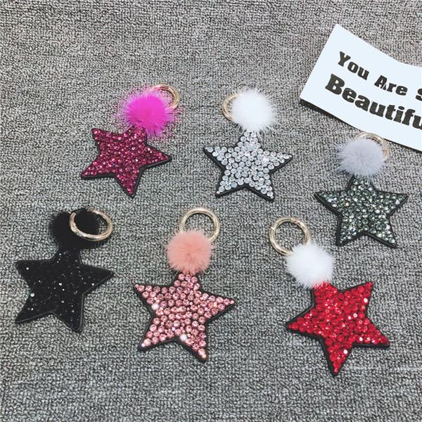2019 Fashion Jewerly Rhinestone étoile à cinq branches porte-clés élément de vison anneau porte-clés