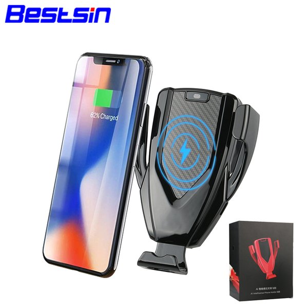 Bestsin M8 Smart Induction Supporto da auto per auto Fast Wireless Qi Charger Mount per iPhone X XR XS Max Samsung Note 9