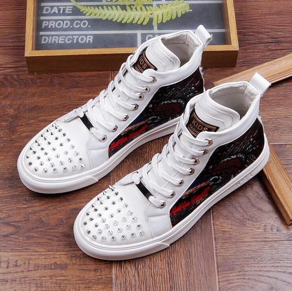 Lo nuevo Negro Blanco Camuflaje Impresión Skull Men Ankle Shoes Hombre Pisos Remaches Toe Punk Party zapatos de vestir de los hombres 1a9