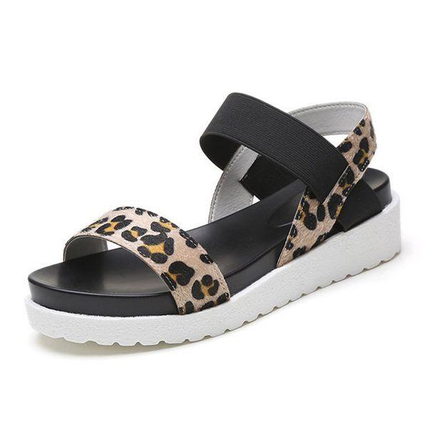 Sandalias de mujer Banda elástica Zapatos de mujer Sandalias planas de verano Zapatillas sin cordones para mujer Sandalia de plataforma Romano Calzado para mujer
