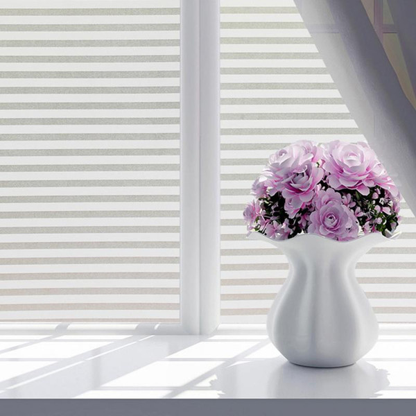 45*100CM/60*200CM Frosted Stained White Frosted Line Blind Style Privacy Stripe Window Film Glass Sticker AS231
