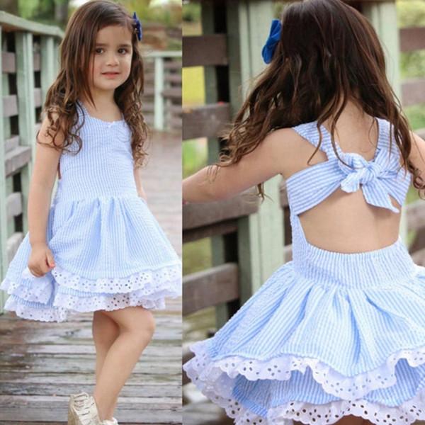 Ropa de diseñador para niños Niñas vestido de la torta doble de encaje a rayas vestidos de Princesse Backless vestido de fiesta de la muchacha del verano Boutique Kids Clothing YW3642