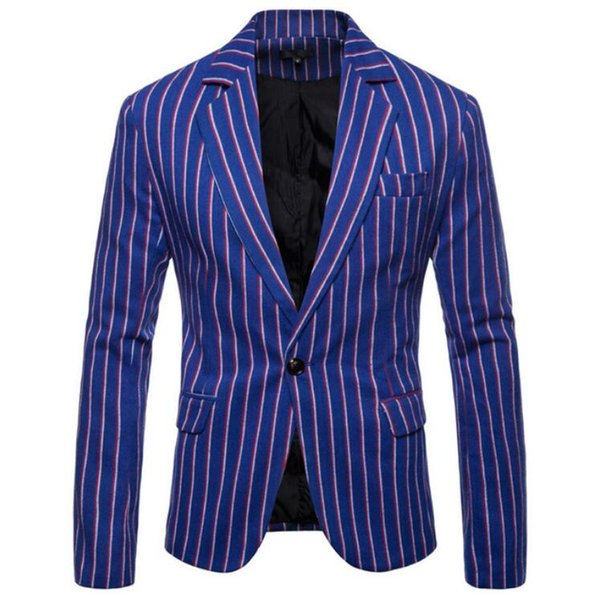European and American men's business casual suit Spring and autumn new men's one button striped suit jacket tide
