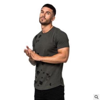 casual mens designer t shirts with hole quick dry luxury shirt for males men gym shirts for running