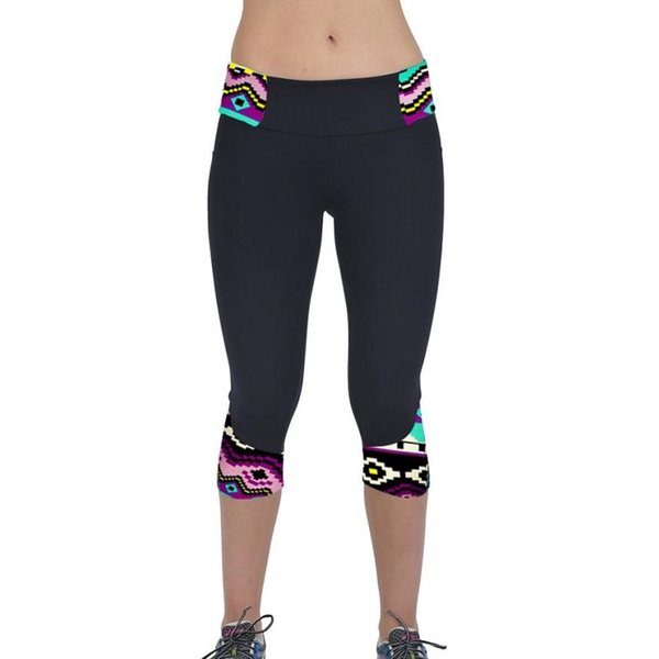 High Waist Fitness Yoga Sport Printed shorts Stretch Cropped Leggings Sports Gym Running Fitness Female Tights JUNN16 #147587