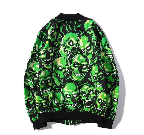 2019 New Brand Skull Head Couple Baseball Uniform Designer Jacket Mens Womens Couple Jacket Zipper Cardigan Green Plus Size M-2XL