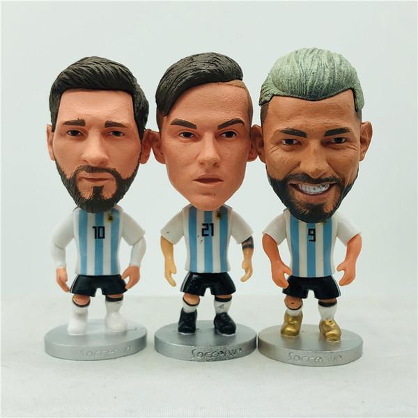 "top popular Soccerwe 2.55"" Height Soccer Star Dolls Argentina Messi Dybala Aguero Higuain Batistuta Doll White Blue Kit Birthday Children Gift 2020"