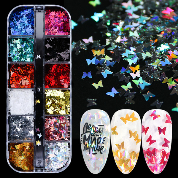best selling Colorful Laser Butterfly Sequins for Nails Glitter Flakes Sparkly Shiny Paillette Manicure UV Gel 3D Nail Art Decor Tips