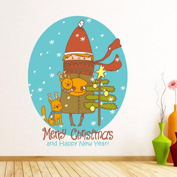 Симпатичные Рождественская девочка и мультфильм кошки Рождественская елка для рождественские украшения иллюстрации стикер винил водонепроницаемый стены ПВХ наклейка съемный