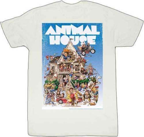 La maglietta unisex di modo delle donne degli uomini di film classico della parte anteriore piena del manifesto dell'annata della casa degli animali libera la maglietta di modo Trasporto libero