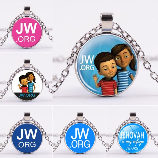 JW ORG Halskette Buchstabe Silber JW ORG Glas Cabochon Halskette Anhänger Modeschmuck wird und Sandy Drop Shipping