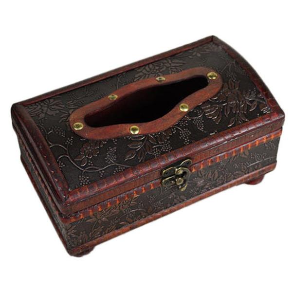 Elegant Crafted Wooden Antique Handmade Old Tissue Box Antique Tissue Box JXD
