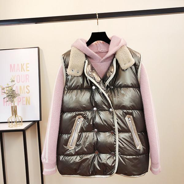 Down Cotton Vest Women's Short Parka Coat Girls Student Fall/Winter Plus Size Loose Bright Face Vest Jacket Waistcoat