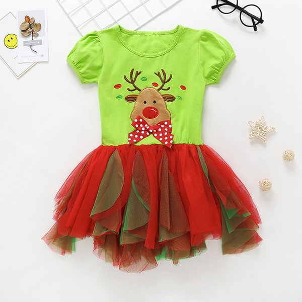 good qulaity fashion girls dress cotton short sleeve christmas clothing for children cartoon lace princess vestidos bebe party dress