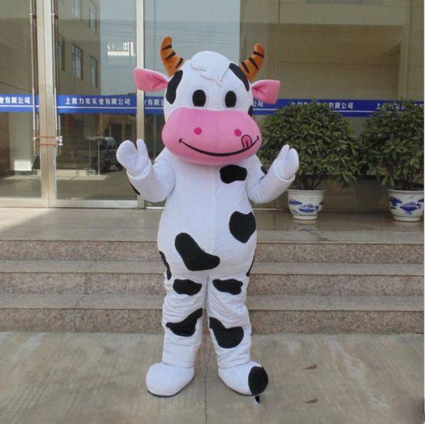 Hot sale!! PROFESSIONAL FARM DAIRY Cow Mascot Costume cartoon Fancy Dress Free Shipping