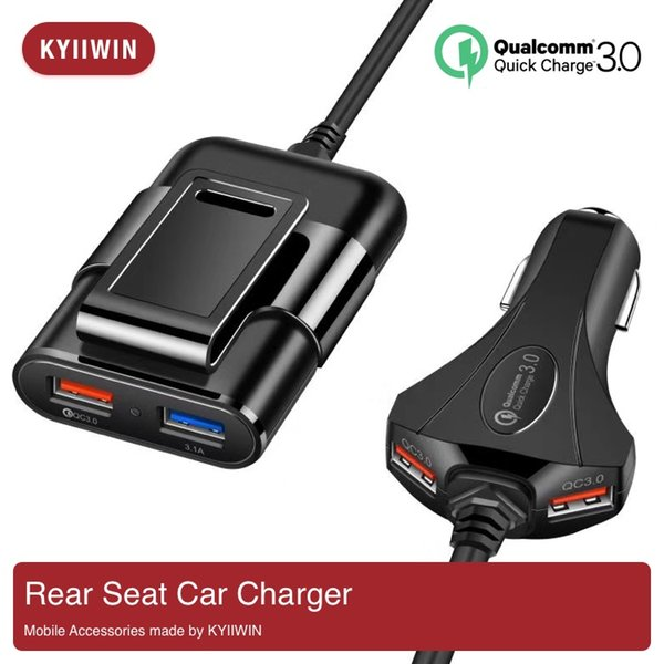 QC3.0 Car Charger Rear Seat Charger One for Four 1.7M Extension Cable Electrical 4 USB Ports 5V 9V 12V Car Phone Charging