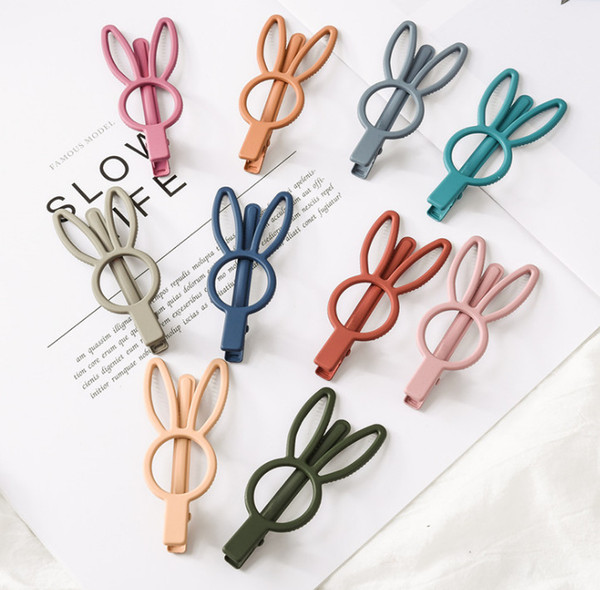 Girls cute rabbit hairpins boutique kids candy color hollow bunny hair clip children birthday party barrettes girls hair accessories F5188