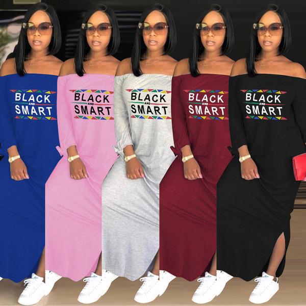 Primavera otoño mujer diseñador Vestidos manga larga negro letras inteligentes imprimir Slash cuello suelto fuera del hombro vestido largo Sexy Split falda S-3xl