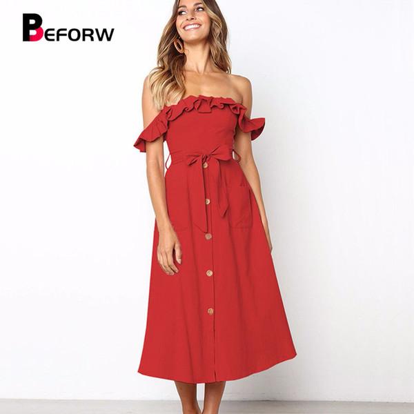 Donne Sexy Off spalla Ruffles Party Midi Dress Donna Casual nero Abiti 2019 Womens Primavera Estate Dress Vestido
