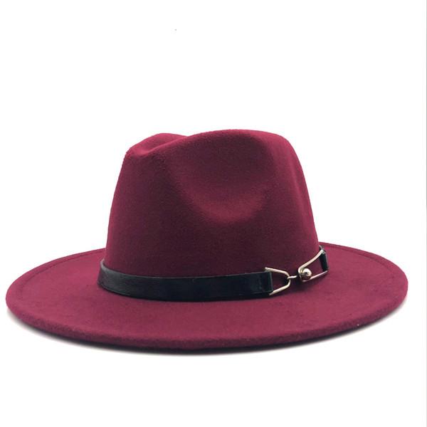New Women Men Wool Vintage Gangster Trilby Felt Fedora Hat With Wide Brim Gentleman Elegant Lady Winter Autumn Belt Jazz Caps D19011102