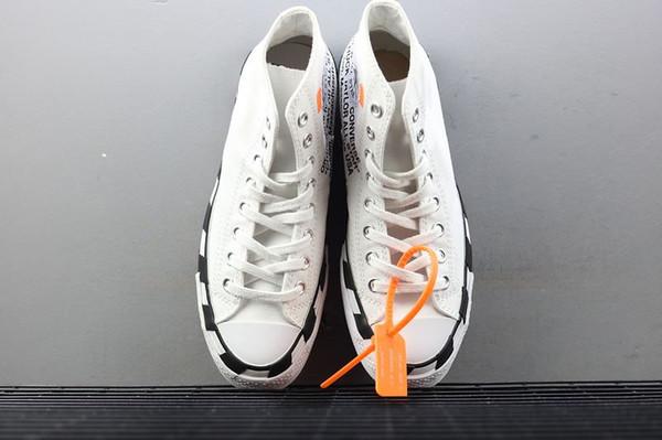 OFF White x Converse Más reciente Stripe OFF Chuck 70 White Bold Orange-Black SHOELACES Taylor 1970S Canvas Hombre Mujer Zapatillas Zapatos de moda Casual 162204C