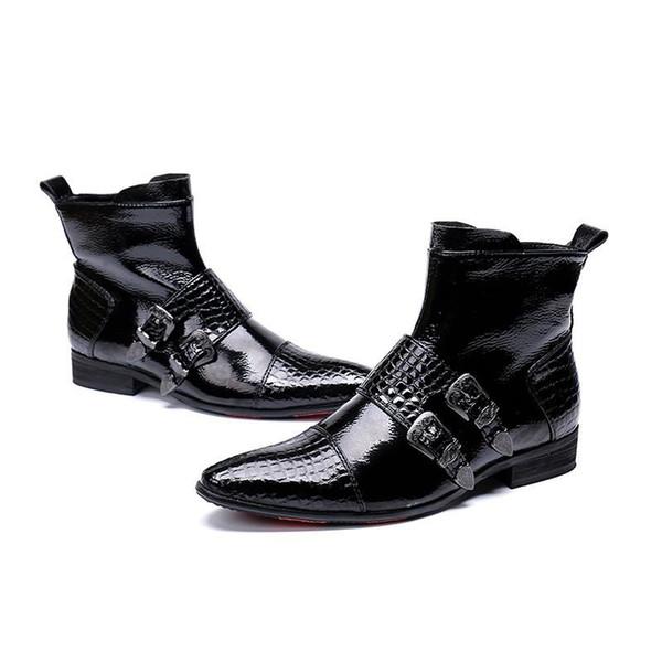 Großhandel 2019 Neue Männer Schuhe Stiefel Western Cowboy Stiefeletten Männer Spitzen Schnallen Schwarz Leder Botas Hombre Landebahn, Partei Stiefel