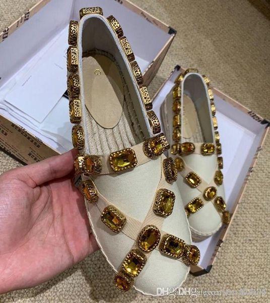 Новые Холст эспадрильи с кристаллами Роскошная дизайнерская обувь Женская повседневная обувь Женская обувь рыбака 573025 KIFG0 1000 Fashion c