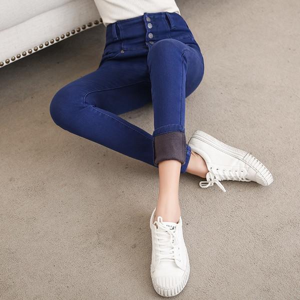 Ofertas más polainas de terciopelo denim jean panty nuevo engrosamiento invierno delgado lápiz azul jeans desgaste del pie pantalones de cintura alta # 577954