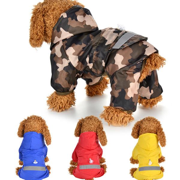 Su geçirmez Köpek Yağmurluk Giyim Katı Tam Paket Katı Yansıtıcı Küçük Orta Köpek Yağmurluk Pet Köpekler Giyim Için Glisten 13csE1
