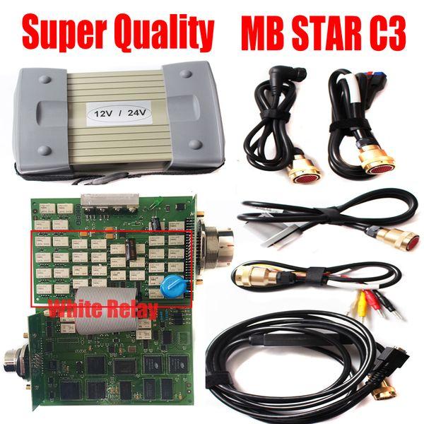 2019 Super C3 MB Star Multiplexer C3 mb sd connect compatto 3 chip full chip bianco con strumenti diagnostici cavo No diagnosi HDD