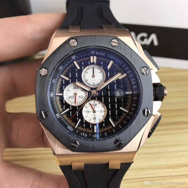 Whole ale luxury royal brand off hore gold black tainle teel automatic mechanical rubber trap port men men watch watche